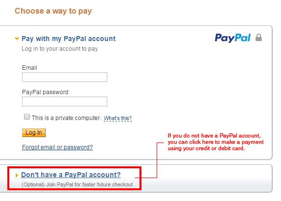 how to pay using paypal without an account